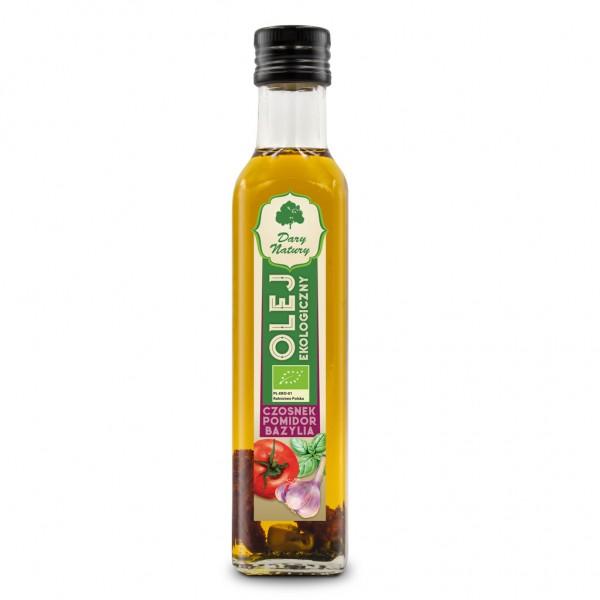 Olej rzepakowy czosnek, pomidor, bazylia tłoczony na zimno eko 0,25 l DARY NATURY