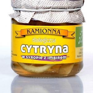 Ekologiczna cytryna w syropie z imbirem 220g