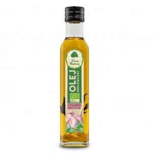 Olej rzepakowy czosnek, bazylia tłoczony na zimno eko 0,25 l DARY NATURY
