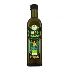 Olej lniany ekologiczny tłoczony na zimno 500 ml DARY NATURY