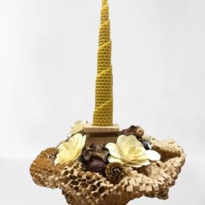 Naturalny stroik ze świeczką z wosku - Pszczela Kuźnia