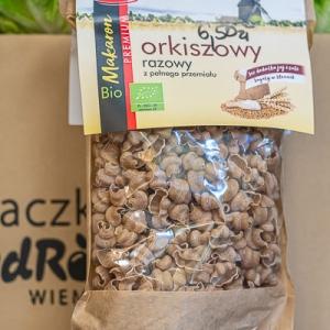 Bio makaron orkiszowy razowy z pełnego przemiału - muszelka 250 g